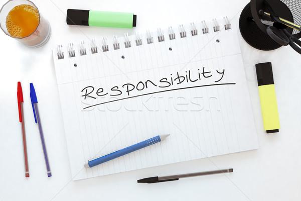 Responsabilità manoscritto testo notebook desk rendering 3d Foto d'archivio © Mazirama