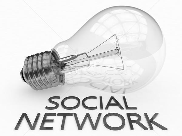 Foto stock: Red · social · bombilla · blanco · texto · 3d · ilustración