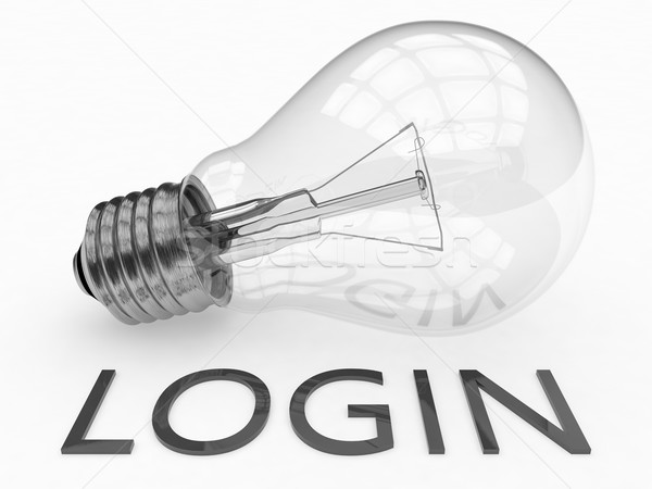 Login lâmpada branco texto 3d render ilustração Foto stock © Mazirama