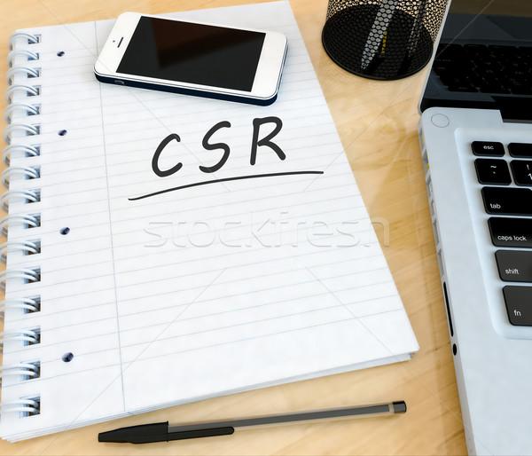 Empresarial social responsabilidad texto cuaderno Foto stock © Mazirama