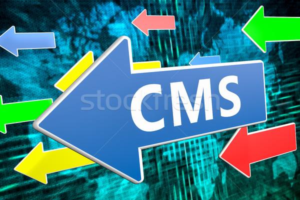Conteúdo gestão cms texto azul seta Foto stock © Mazirama