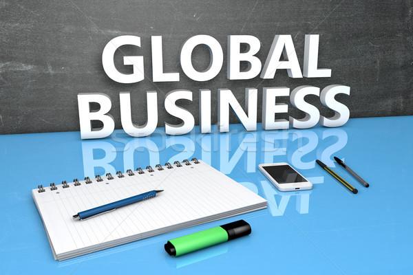 Global de negócios texto quadro-negro caderno canetas telefone móvel Foto stock © Mazirama