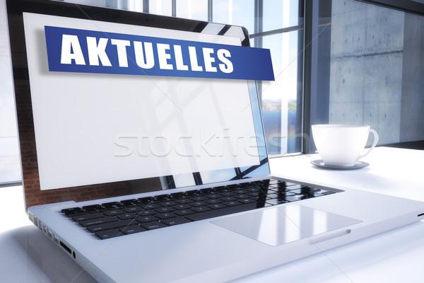 Palavra notícia atual texto moderno laptop Foto stock © Mazirama