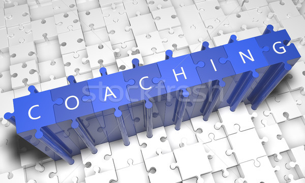 Coaching Puzzle 3d render Illustration Text blau Stock foto © Mazirama
