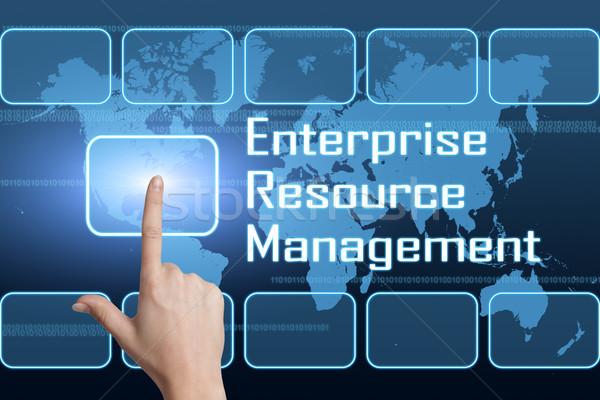 Empresa recurso gestão interface mapa do mundo azul Foto stock © Mazirama