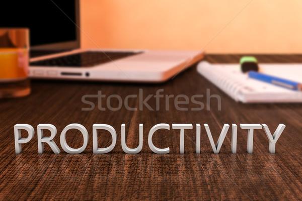 Produktiviteit brieven houten bureau laptop computer notebook Stockfoto © Mazirama