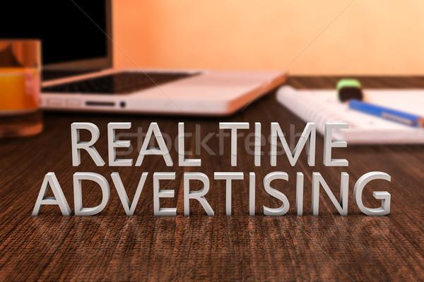本当の 時間 広告 文字 木製 デスク ストックフォト © Mazirama