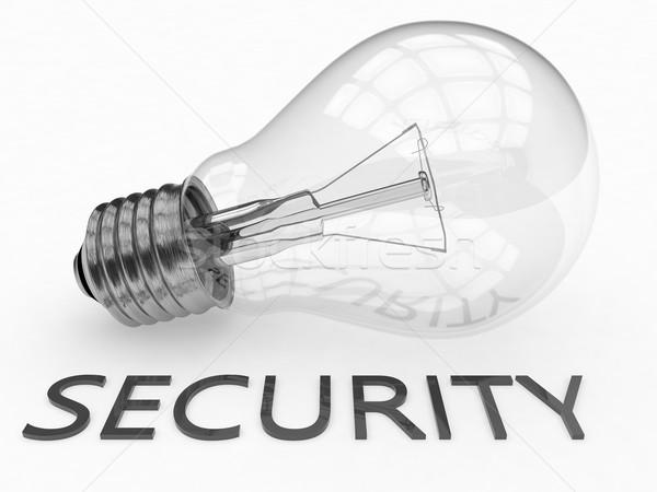 ストックフォト: セキュリティ · 電球 · 白 · 文字 · 3dのレンダリング · 実例