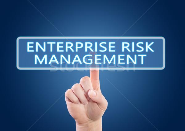 Foto stock: Empresa · gestão · de · risco · mão · botão · interface