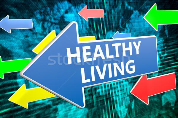 Здоровый образ жизни текста синий стрелка Flying зеленый Сток-фото © Mazirama
