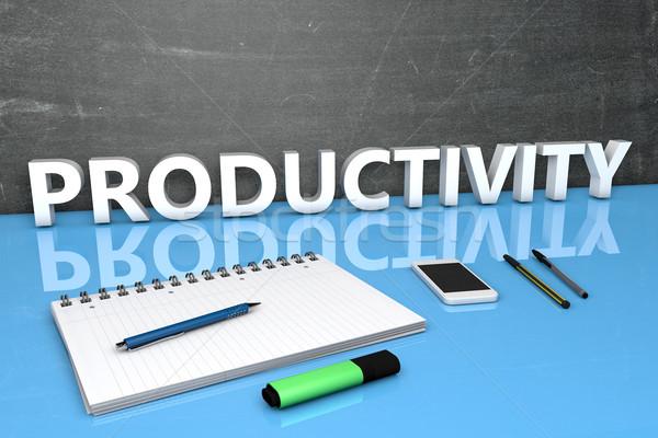 Produktivitás szöveg tábla notebook tollak mobiltelefon Stock fotó © Mazirama