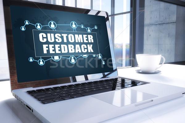 Cliente feedback texto moderna portátil Screen Foto stock © Mazirama