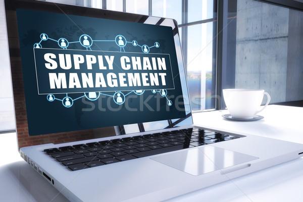 Ellátás lánc vezetőség szöveg modern laptop Stock fotó © Mazirama