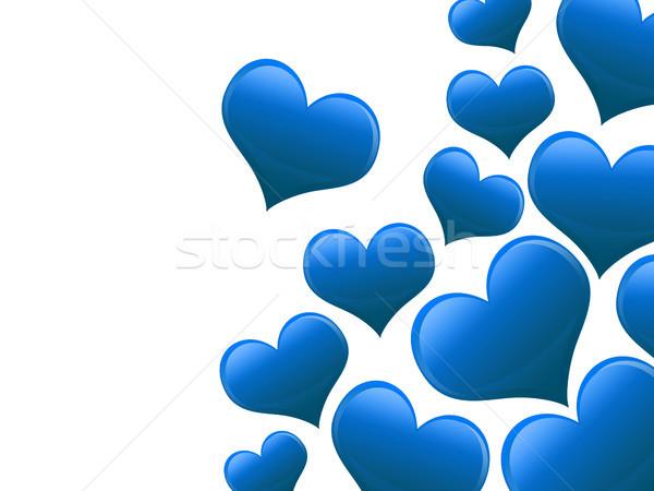 Valentin nap kártya szívek összes kék textúra Stock fotó © Mazirama