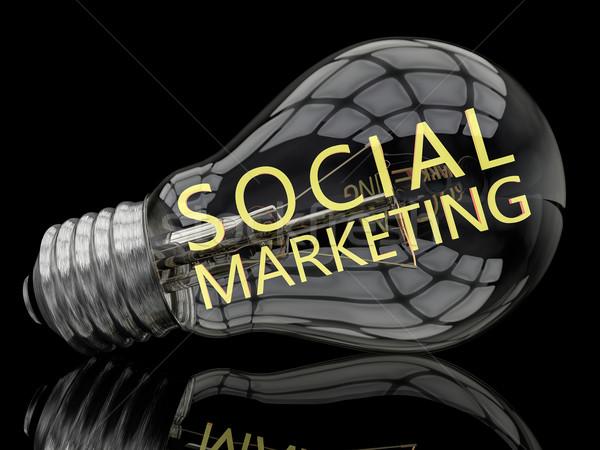 Társasági marketing villanykörte fekete szöveg 3d render Stock fotó © Mazirama