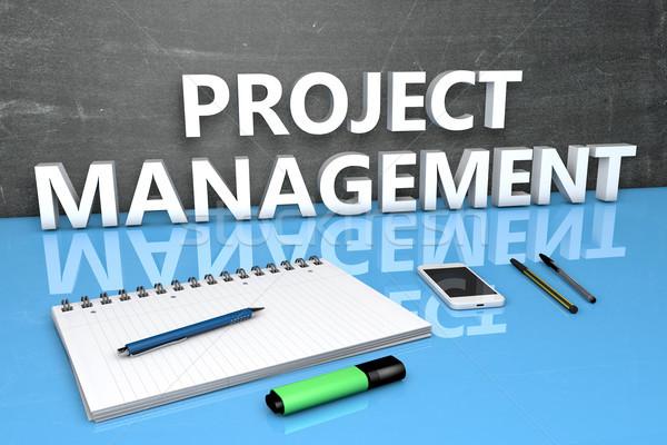 Projekt vezetőség szöveg tábla notebook tollak Stock fotó © Mazirama