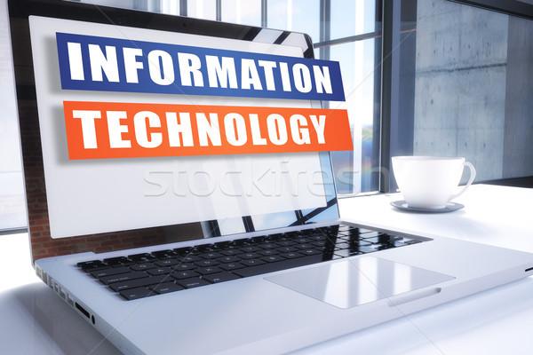 Informatika szöveg modern laptop képernyő iroda Stock fotó © Mazirama