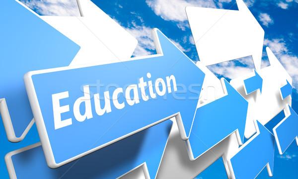Foto stock: Educación · 3d · azul · blanco · flechas · vuelo