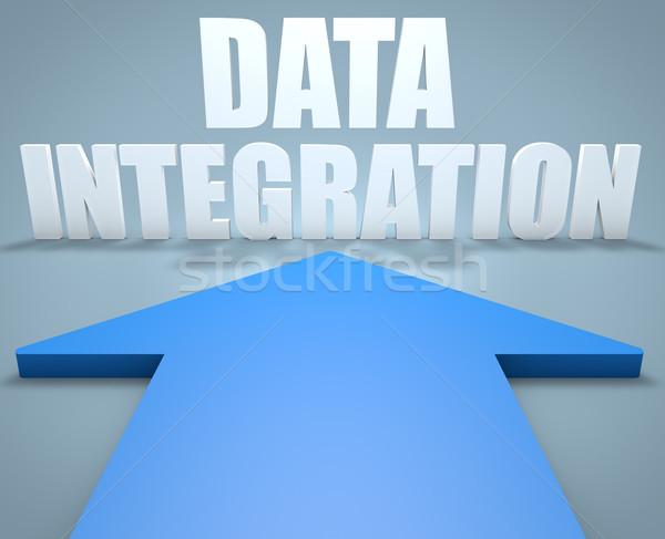 Gegevens integratie 3d render Blauw pijl wijzend Stockfoto © Mazirama