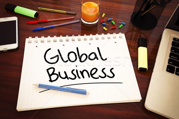 Wereldwijde business tekst notebook bureau 3d render Stockfoto © Mazirama