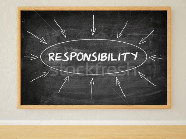 Verantwortung 3d render Illustration Text schwarz Tafel Stock foto © Mazirama