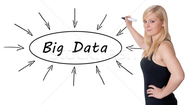 Stockfoto: Groot · gegevens · jonge · zakenvrouw · tekening · informatie