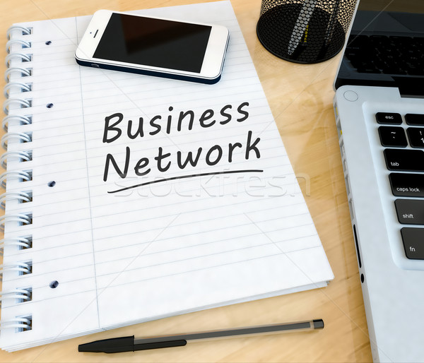 Business network tekst notebooka biurko laptop Zdjęcia stock © Mazirama
