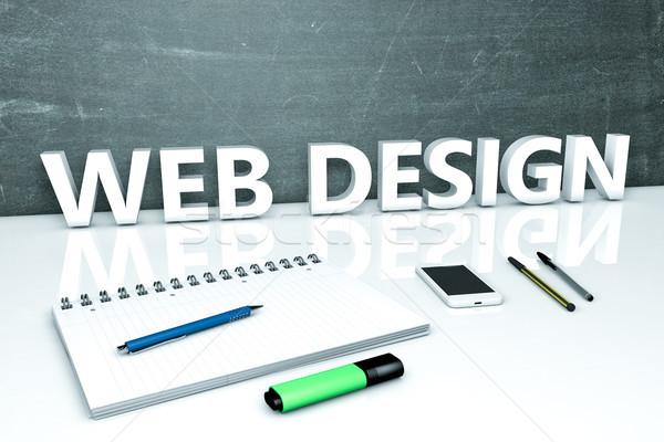 Webデザイン 文字 黒板 ノートブック ペン 携帯電話 ストックフォト © Mazirama