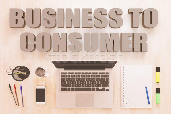 üzlet fogyasztó szöveg notebook számítógép okostelefon Stock fotó © Mazirama