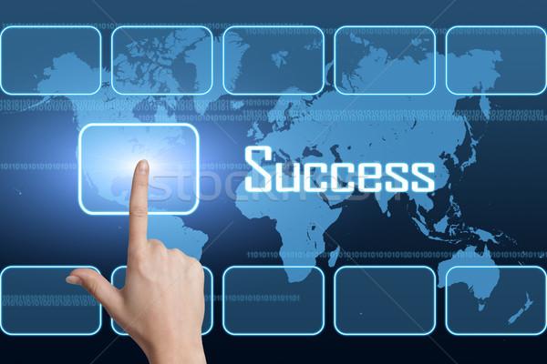 Stok fotoğraf: Başarı · arayüz · dünya · haritası · mavi · Internet · çalışmak