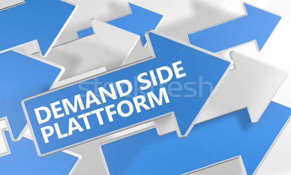 Nachfrage Seite Plattform 3d render blau weiß Stock foto © Mazirama