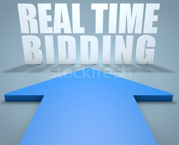 Real tempo 3d render azul seta indicação Foto stock © Mazirama