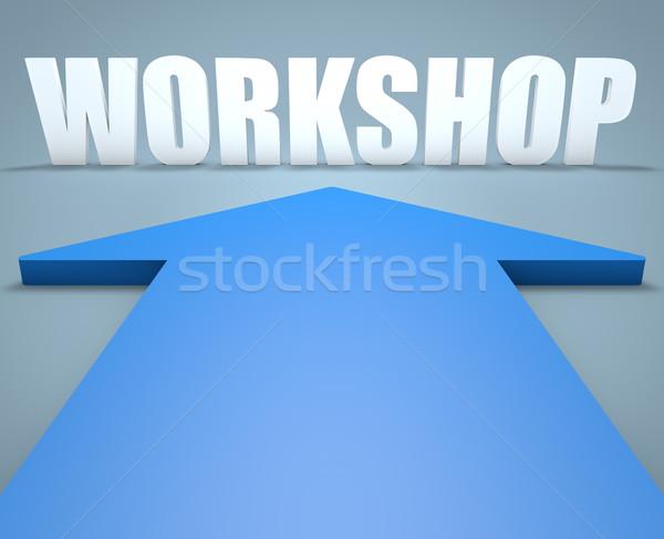 Workshop 3d render Blauw pijl wijzend conferentie Stockfoto © Mazirama