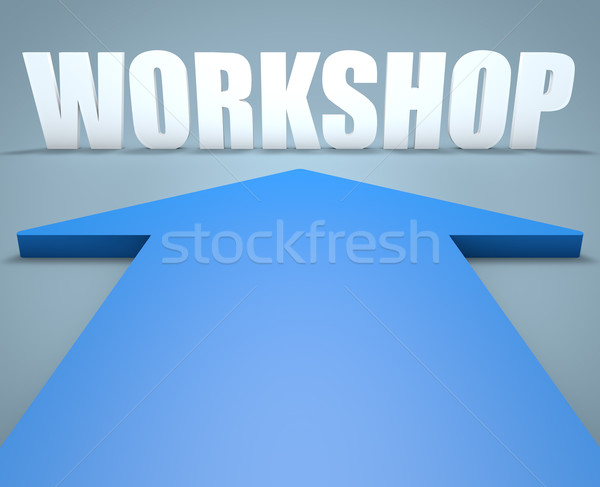 семинар 3d визуализации синий стрелка указывая конференции Сток-фото © Mazirama