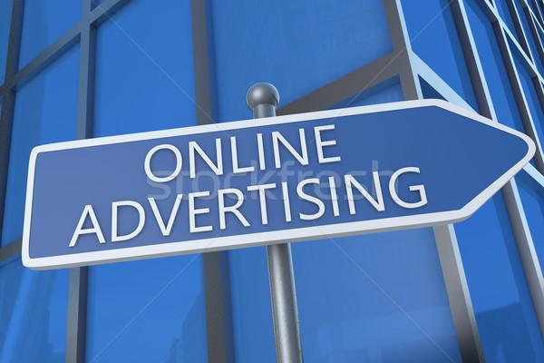 онлайн реклама иллюстрация улице подписать офисное здание веб Сток-фото © Mazirama