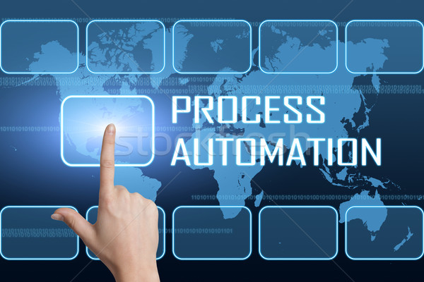 Processo automação interface mapa do mundo azul tecnologia Foto stock © Mazirama