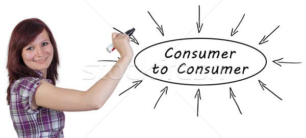 Consumatore giovani imprenditrice disegno informazioni Foto d'archivio © Mazirama