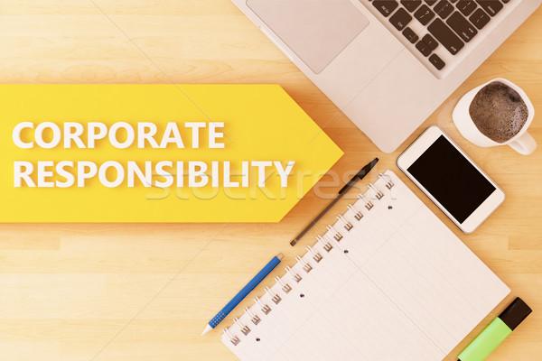 Korporacyjnych odpowiedzialność liniowy tekst arrow notebooka Zdjęcia stock © Mazirama
