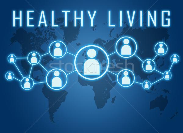 Sağlıklı yaşam metin mavi dünya haritası sosyal simgeler Stok fotoğraf © Mazirama