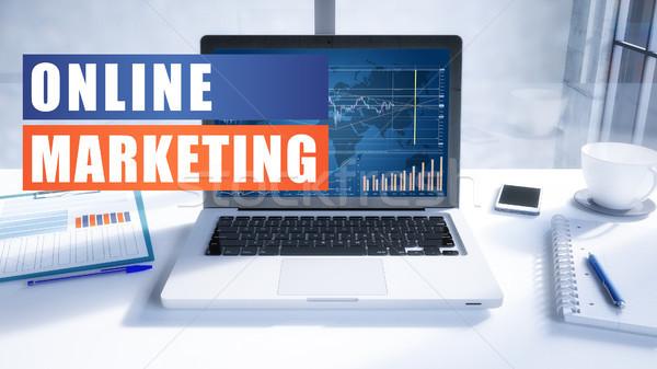 Online marketing tekst moderne laptop scherm kantoor Stockfoto © Mazirama