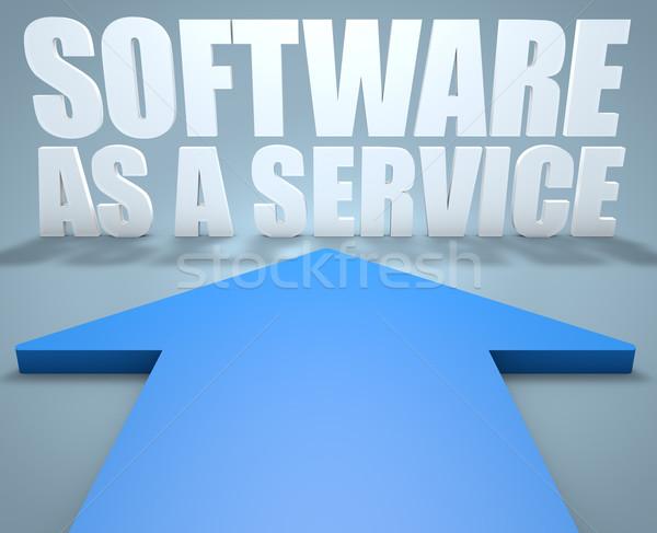 Szoftver szolgáltatás 3d render kék nyíl mutat Stock fotó © Mazirama