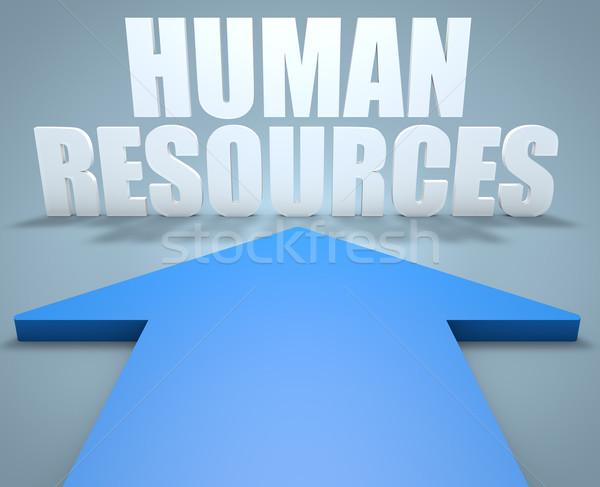 Insan kaynaklar 3d render mavi ok işaret Stok fotoğraf © Mazirama