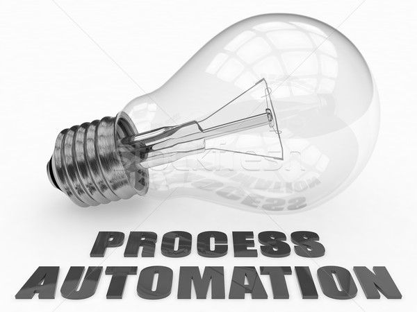 Folyamat automatizálás villanykörte fehér szöveg 3d render Stock fotó © Mazirama