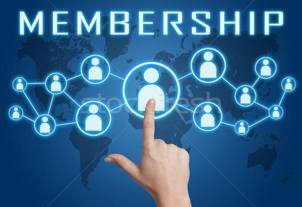 Afiliación mano social iconos azul Foto stock © Mazirama