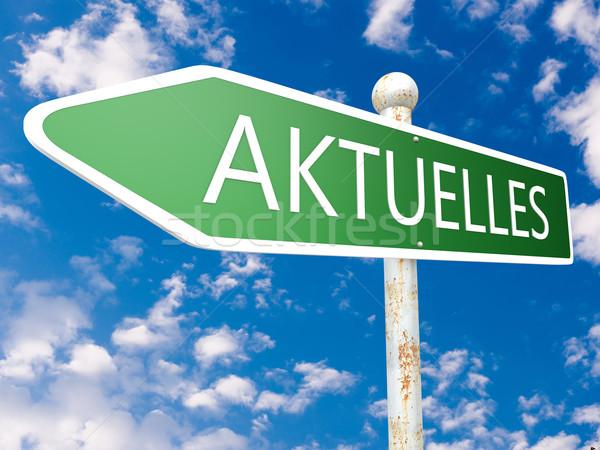 Palavra atual notícia placa de rua ilustração blue sky Foto stock © Mazirama
