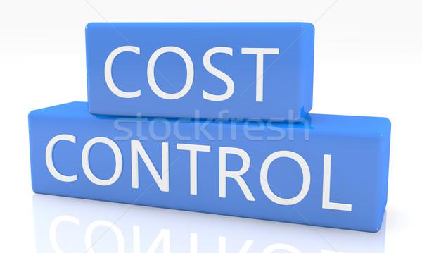 コスト 制御 3dのレンダリング 青 ボックス 文字 ストックフォト © Mazirama
