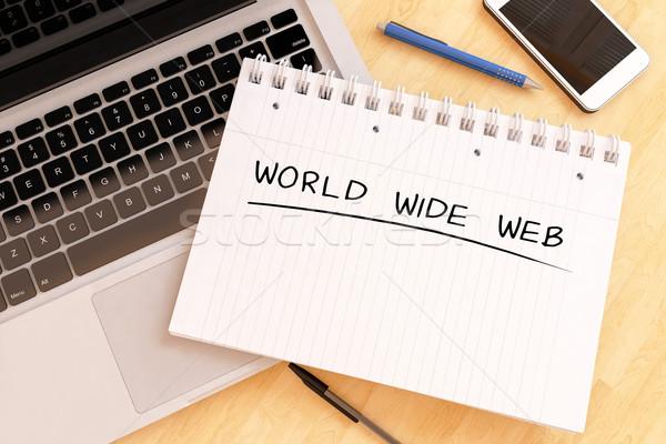 World wide web tekst notebook bureau 3d render Stockfoto © Mazirama