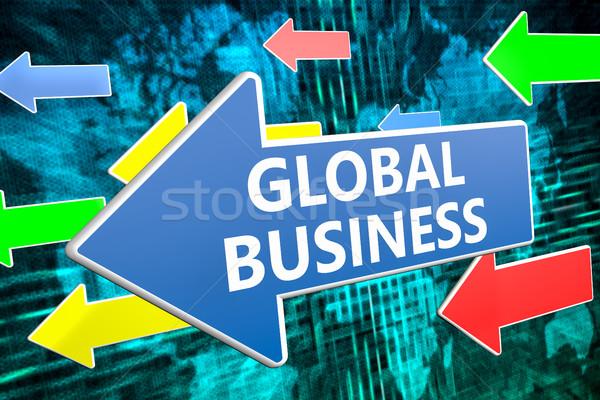 Business globale testo blu arrow battenti verde Foto d'archivio © Mazirama
