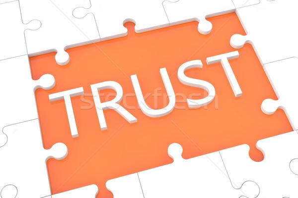 головоломки доверия слов оранжевый бизнеса компьютер Сток-фото © Mazirama
