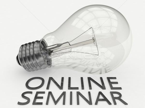 Online seminar gloeilamp witte tekst 3d render Stockfoto © Mazirama